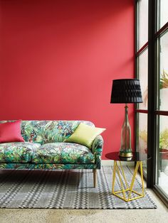 Colourful Samana Junglebeat fabric by @matthewwilliamson for @osbornelittle - available now from Rodgers of York #lounge #fabric