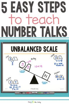 5 Easy Steps to Teach Number Talks in First Grade First Grade Lessons, Teaching First Grade, First Grade Classroom, First Grade Math, Math Lessons, Math Fact Fluency, Number Talks, Math Talk, Teaching Numbers