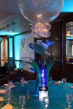 Underwater Balloon Centerpiece Underwater Balloon Centerpiece with Floating Fish & Balloon Grass Balloon Centerpieces Wedding, Masquerade Centerpieces, Balloon Decorations, Balloon Inside Balloon, Balloon Columns, Balloons, Bar Mitzvah Themes, Bat Mitzvah, Underwater Party