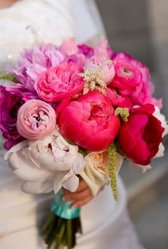 LOVE the colors of these peonies, ranunculus and garden roses- would add some coral and green flowers