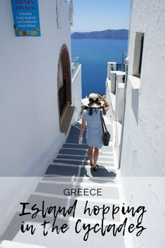 The Perfect itinerary to explore the Cyclades. Island hopping in Greece is a must on any bucket list! Places In Europe, Europe Destinations, Fira Santorini, Mykonos Town, Greece Islands, Paros, Adventure Travel, Claire, The Good Place