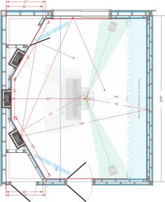 An early concept I did in CorelDraw with room-in-room and reflection-free zone (RFZ) avoids canting the lateral walls (with mobile baffles) but leaves the listening position at room center (bad). Well, it's a start.