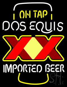 Dos Equis XX on Tap Neon Sign 31 Tall x 24 Wide x 3 Deep, is 100% Handcrafted with Real Glass Tube Neon Sign. !!! Made in USA !!!  Colors on the sign are White and Yellow. Dos Equis XX on Tap Neon Sign is high impact, eye catching, real glass tube neon sign. This characteristic glow can attract customers like nothing else, virtually burning your identity into the minds of potential and future customers.