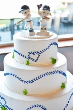Baseball Wedding  Dodger/Yankee Rivalry Wedding Cake .. Precious Moments Cake Toppers ..  .. Creative Cakes Orange, CA Angel Stadium Wedding
