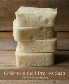 This palm free cold process soap recipe is made with goldenrod flowers. The design on the outside of the bars came from lining the mold with a fondant mat.