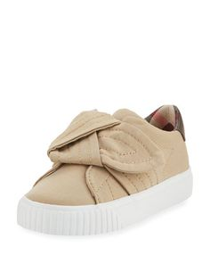 K0QZV Burberry Westford Canvas Sneaker w/ Knot Detail, Toddler Sizes 7-10