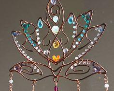 Super Sparkly Lotus Blossom gemstone suncatcher, Chakra window hanging wire art, home patio decor garden decoration Swarovski Crystal