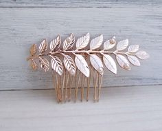 Bridal Hair Comb, Rose Gold Hair Piece, Leaf Pearl Hair Comb, Wedding Hair Accessories, Veil Comb,Greece Goddess