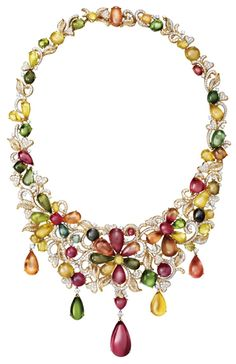 18K Yellow Gold Rainbow Tourmaline with Diamond Necklace