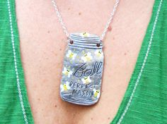 Mason Jar Necklace Firefly's In A Jar Hand Tooled by OneLaneRoad