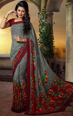 Picture of Contemporary Gray and Maroon Color Saree
