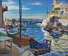 Petit port de Malmousque-Huile sur isorel (92x64 cm)-Edmond Astruc