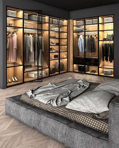 Walk In Closet Design, Bedroom Closet Design, Home Room Design, Master Bedroom Design, House Design, Master Suite, Modern Luxury Bedroom, Luxury Bedroom Design, Luxurious Bedrooms