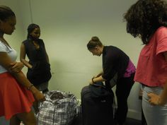 Young Producers team - the Assistants to the Costume Designer take word of advice from the Stage Manager on how to prepare the costumes for the actors right before a show. London Metropolitan, Word Of Advice, Stage, War, Actors, Costumes, Summer, Summer Time, Costume