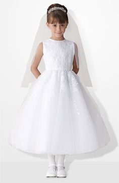 Joan Calabrese for Mon Cheri Satin & Tulle Dress (Little Girls & Big Girls) available at #Nordstrom