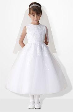 Joan Calabrese for Mon Cheri Satin & Tulle Dress (Little Girls & Big Girls) available at #Nordstrom