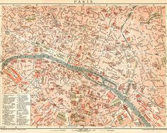 Old Paris Street Map Vintage Illustrated Reproduction Den Office Wall Art Print