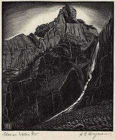 H. Eric Bergman (Canadian). Glacier Water. 1931. (wood engraving)