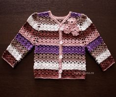 Baby cardigan Crochet Pattern . Skill Level: Easy    Fits ages :  New born.  1-1,2 years. chest 19,5  3-4 years. chest 24  5-6 years. chest 26    100%