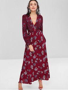e9fb549013d7 Maxi Floral Plunge Bohemian Dress - RED WINE XL White Midi Dress, Midi Dress  With