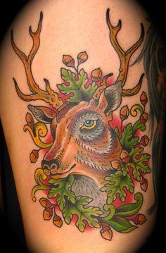colorful deer portrait tattoo
