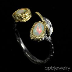 Handmade fine Art Natural Opal 925 Sterling Silver Ring Freesize/R27059 #APBJewelry #Ring