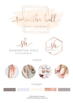 BRANDING KIT: PREMADE LOGO + ALTERNATIVE LOGO + WATERMARK + COLOR PALETTE This Premade branding kit is perfect for photographers, venues, florists, interior designers, bloggers, event planners, wedding , stylists, boutiques, fashion labels, make-up artists and other beautiful businesses. After purchasing, each premade kit will be customized by following: • YourName/Store name • Optional Tagline • In case you want to change colour ( for text and watercolor) or add gold/silver&#x2F...