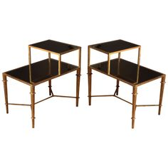 A Pair of Gilt Bronze Two Tier Mirrored Bedside Tables. Franc,e Contemporary | From a unique collection of antique and modern side tables at https://www.1stdibs.com/furniture/tables/side-tables/