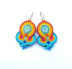 Boho Dangle Earrings Soutache Earrings Yellow by GiSoutacheJewelry Soutache Bracelet, Soutache Jewelry, Orange Earrings, Turquoise Earrings, Handmade Beaded Jewelry, Earrings Handmade, Bridal Earrings, Etsy Earrings, Estilo Boho