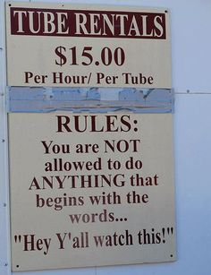 tubing rules....we are NOT going to this place, they're no fun!!!