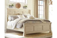 Bolanburg Queen Panel Bed with Louvered Headboard by Signature Design by Ashley. Get your Bolanburg Queen Panel Bed with Louvered Headboard at McGuire Furniture Rental & Sales, Maryland Heights MO furniture store. Camas King, Farmhouse Bedroom Decor, Farmhouse Interior, Farmhouse Chic, Country Farmhouse, Master Bedroom Design, Master Bedrooms, Master Suite, Cottage Bedrooms