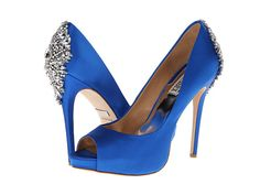 @Heather Weeks ~ Badgley Mischka Kiara Royal Blue Satin - I could make a plain pair of blue shoes this wonderful for a whole lot less... ;)