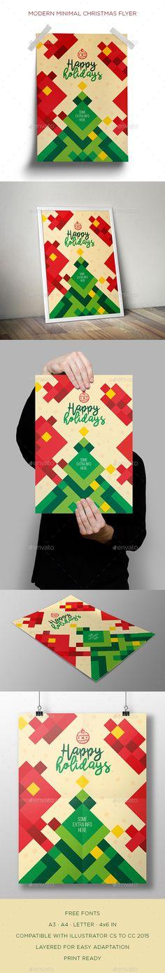 Modern Minimal Christmas Flyer Template Vector EPS, AI Illustrator