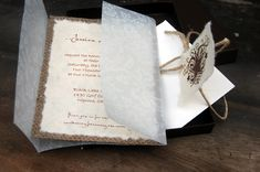 Premade Rustic Burlap and Vellum Lace Wedding Invitation in envelope - Rustic Barn Wedding. $7.50, via Etsy.