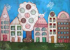 Elena Arts: Casita en Mixed Media, nuevo reto de Scrapbookpasi... #mixedmedia #scrapbooking #mixedmediascrapbooking #elenaarts #layout #LO #páginascrapbooking #scrap #collage #home #casas