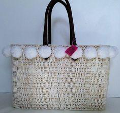 Pom Pom Boho Shopping Basket Beach Basket Beach Bag by MariZoli