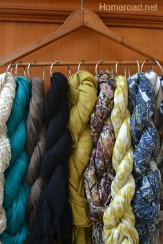 Vintage Scarf Organization :: Hometalk.  Also learn how to twist it.