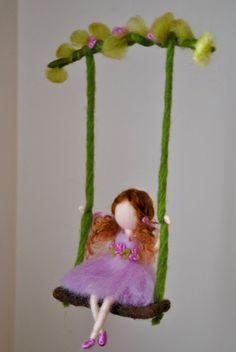 Girls Room Ornament Waldorf inspired : Girl in purple on the swing Chicas sala de ornamento Waldorf inspirado: muchacha de color Diy Arts And Crafts, Felt Crafts, Crafts For Kids, Wool Dolls, Felt Dolls, Fairy Clothes, Felt Fairy, Flower Fairies, Hand Embroidery Designs