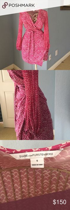 Diane Von Furstenberg Classic Wrap Dress sz 6 Classic DVF wrap dress. Fits like a dream for Size 6! Ties at the waist. Sleeves are sheer and button at the bottom. Hem falls mid-lower thigh. Diane von Furstenberg Dresses Mini