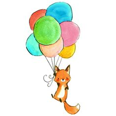 trafalgar's square Fox & Balloons Print ($12) ❤ liked on Polyvore featuring home, home decor and wall art