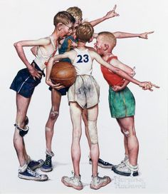 """Four Sporting Boys - Basketball Norman Rockwell - """"The days when the innocence of their children was a prized commodity for American parents."""""""