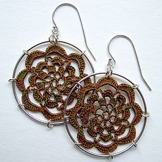 Earrings - crocheted flower in loop