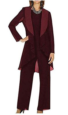 ToonySume Women's 3 Pieces Mother of Bride Groom Dress Pant Suits Chiffon Plus Size for Wedding Evening Wedding Pantsuit, Wedding Suits, Wedding Attire, Mother Of The Bride Plus Size, Mother Of The Groom Suits, Formal Pant Suits, Mom Pants, Wedding Outfits For Women, Burgundy Suit