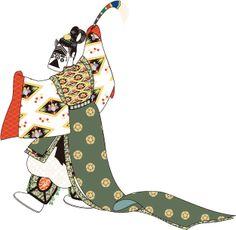A man dressed in kariginu dancing.