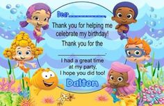 Personalized Bubble Guppies Birthday Party Thank You Note Card by DannisCuteCreations 3rd Birthday Parties, Birthday Party Invitations, 2nd Birthday, Birthday Ideas, Birthday Thank You Notes, Thank You Note Cards, Bubble Guppies Birthday, Party Time, Guppy
