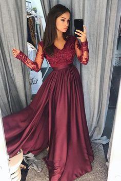 Burgundy Satin Long Sleeves A-line Long Prom Dresses Evening Dresses,P928