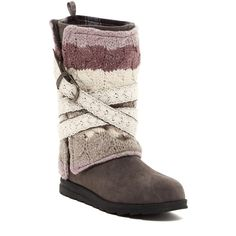 MUK LUKS Nevia Convertible Sweater Boot ($55) ❤ liked on Polyvore featuring shoes, boots, ankle booties, ankle boots, grey, gray booties, grey bootie, grey boots, gray bootie and bootie boots