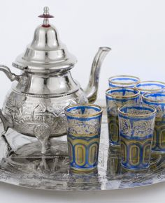 Moroccan Tea Set - large alpaca silver Teapot, a matching handmade Tray, and a set of six Moroccan tea glasses #boho #teaset #gifts