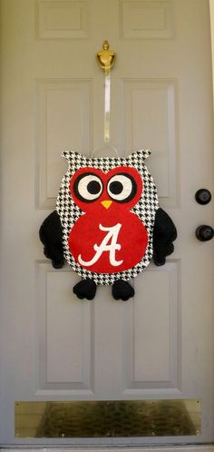 Alabama houndstooth owl burlap door and wall by AllUniqueThings, $40.00