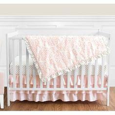 Sweet Jojo Designs Blush Pink White Damask and Gold Polka Dot Amelia Baby Girls Crib Bedding Set with Bumper